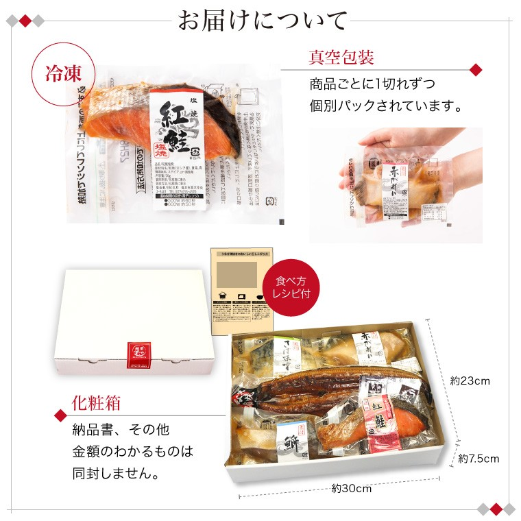 うなぎと惣菜4種(お届けについて)