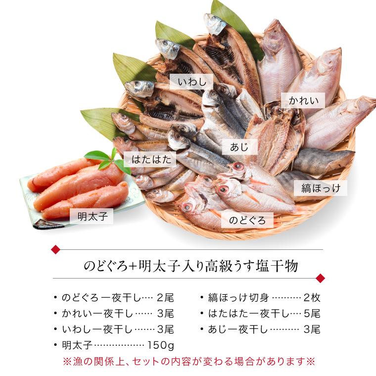 うす塩干物+明太子-セット内容(ざる)